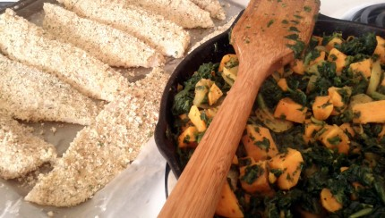 Sweet potato and spinach hash with Tilapia