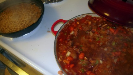 I was so eager to post this, the chili is still cooking!