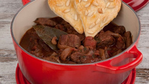 La Cruset Cookware with Beef Stew