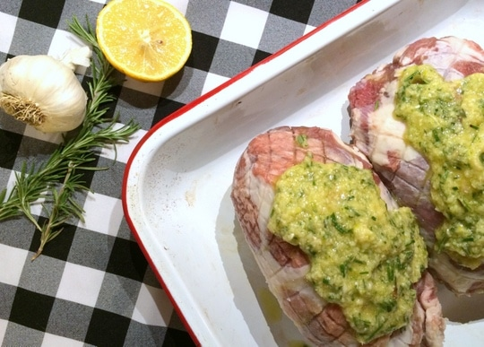 Lamb roast with lemon, rosemary and garlic