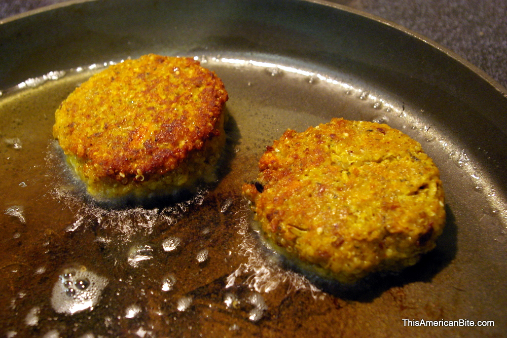 Frying quinoa patties