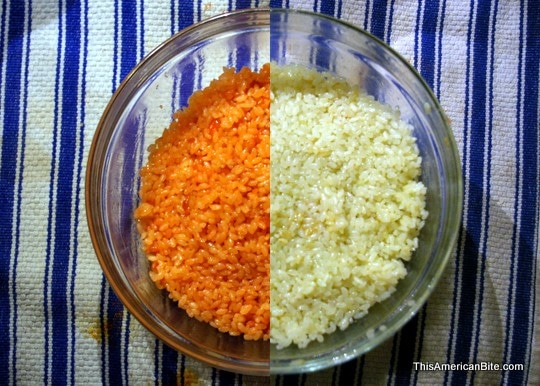 red and green sushi rice
