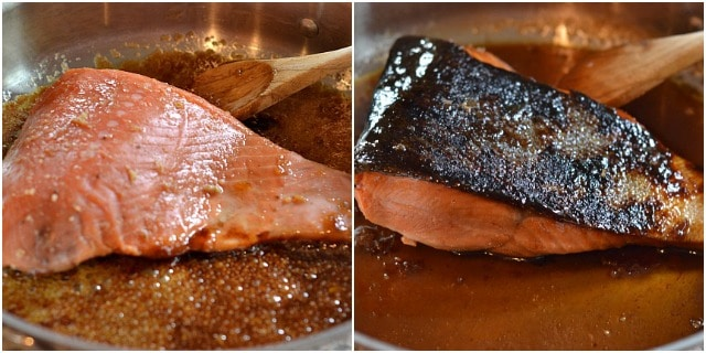 Check out the crispy skin on this bourbon marinated salmon!