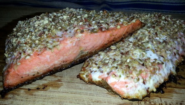 dukka salmon with crispy skin