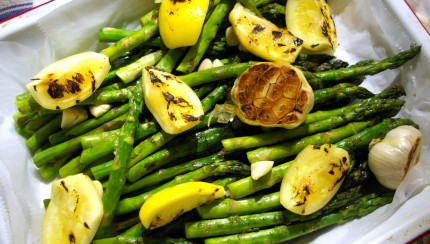 Garlic Asparagus with Grilled Preserved Lemons