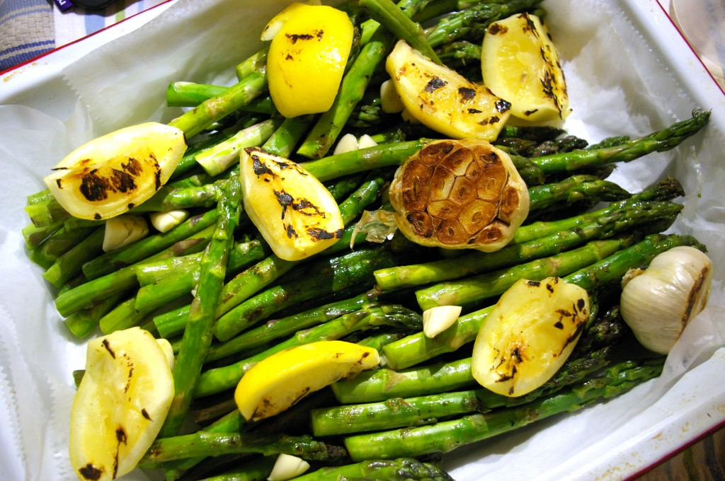 Garlic-Asparagus-with-Grilled-Preserved-Lemons