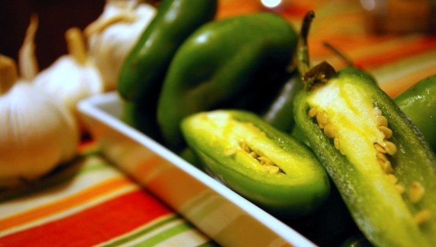Schug ingredients - making green chili paste