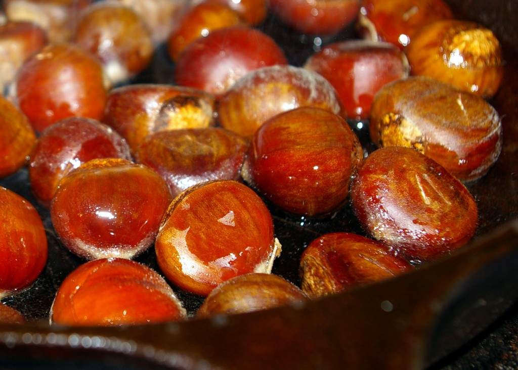 Chestnuts roasted in a skillet