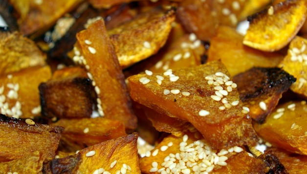 Butternut Squash roasted in coconut oil, with sesame seeds