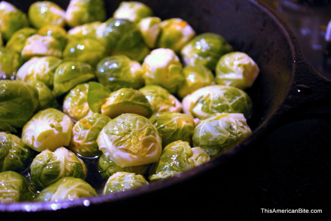 Brussels sprouts in a skillet