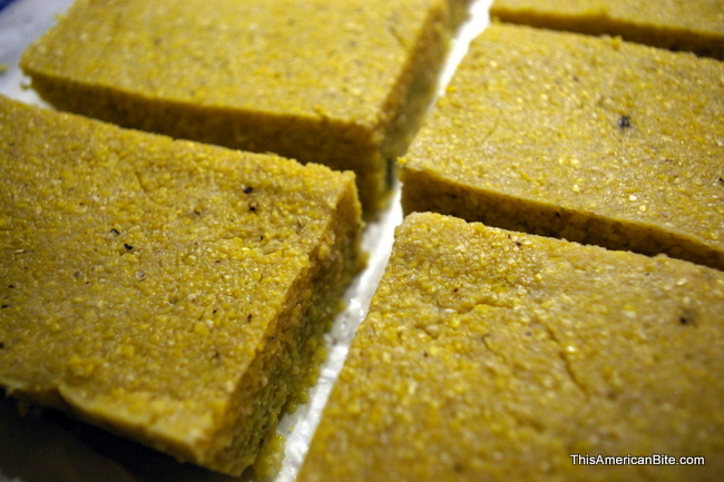 Polenta rectangles ready to be grilled