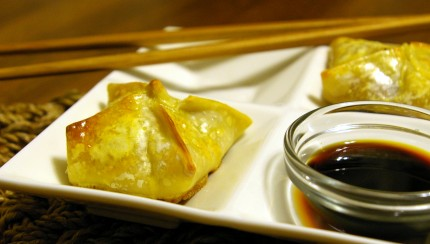 Salmon Wontons with Soy Sauce