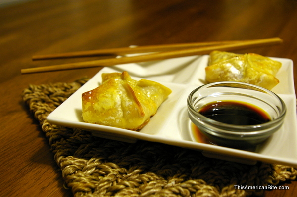 baked wontons with salmon stuffing