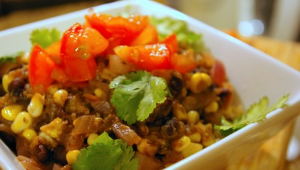 Vegetarian Chili with Black Beans and Corn