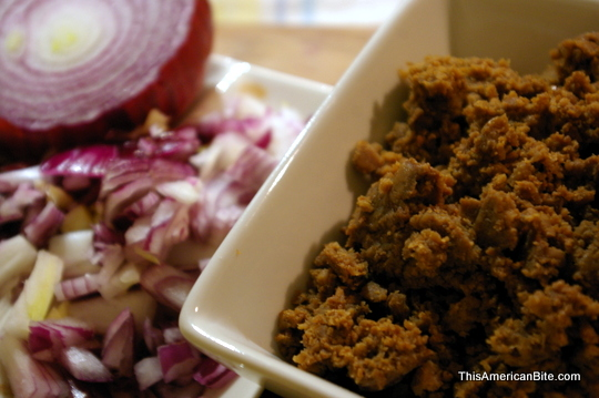 red onions and vegan taco meat