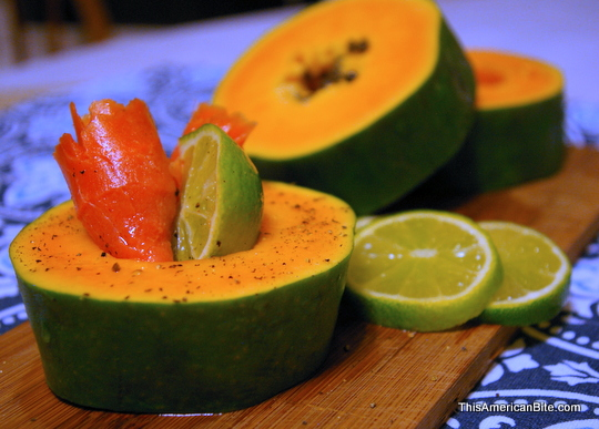 Papaya with lox and lime