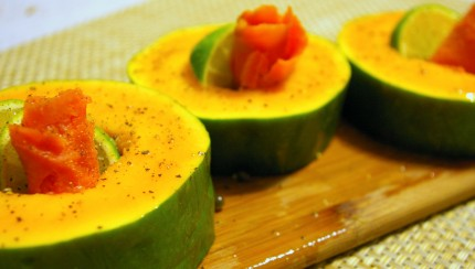 Papaya with lox and lime appetizer