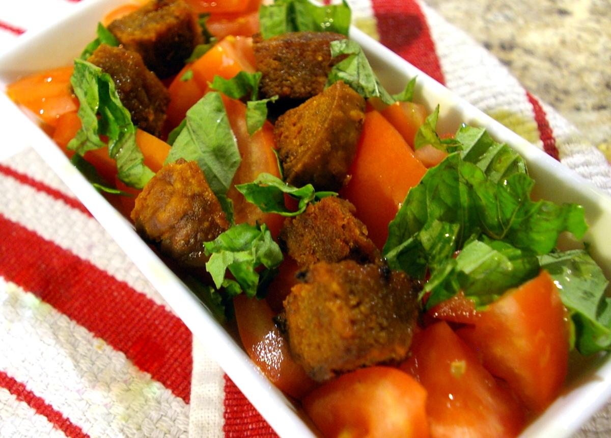 Tomato basil salad with kishke croutons this american bite tomato basil salad with kishke croutons forumfinder Images