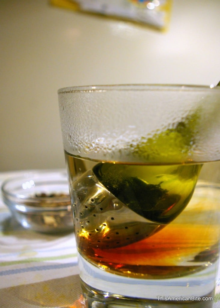Tea steeping in a glass