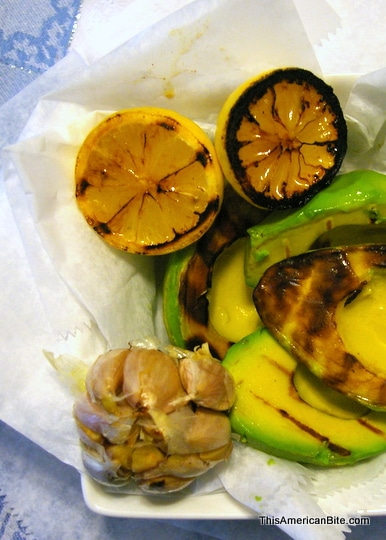 Grilled lemons and grilled avocado
