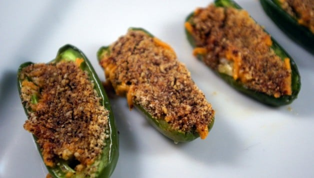Cheddar Stuffed Jalapeño Peppers with Chocolate Breadcrumbs