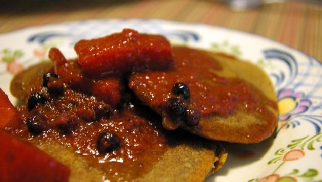 Oat Pancakes with Watermelon Coulis