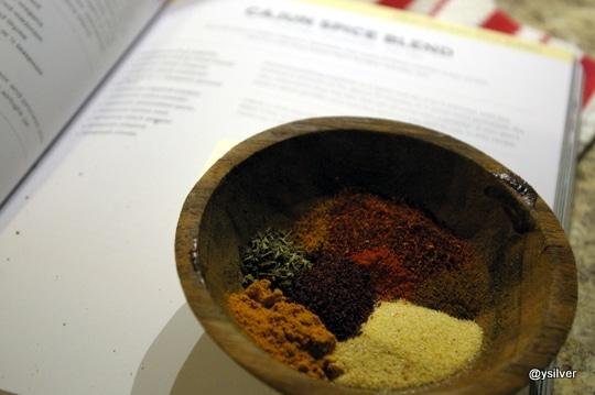 Cajun spice blend: Paprika, thyme, oregano, marjoram, ground bay leaf, cayenne pepper, onion powder, garlic, lemon zest, black pepper, all spice and cloves.