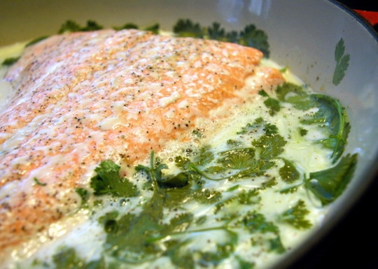 Salmon poached in coconut milk and cilantro