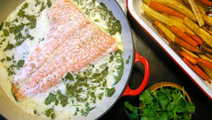 Cilantro Coconut Poached Salmon