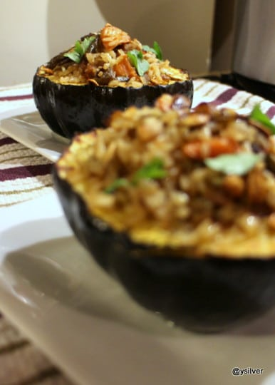 Acorn squash stuffed with dirty rice