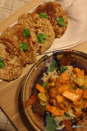 Sweet potato curry and gluten free naan