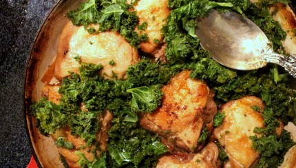 Braised Chicken with Golden Beets and Kale