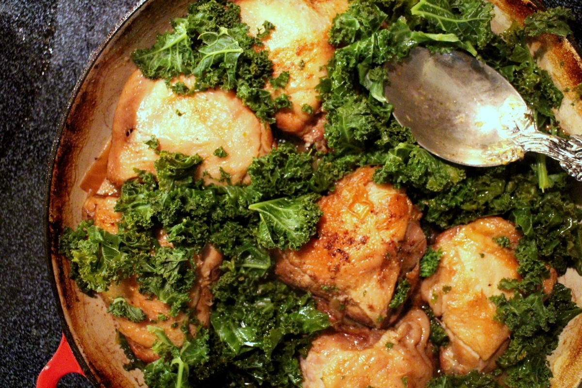Braised Chicken with Golden Beets and Kale - This American Bite