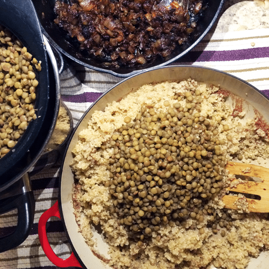 All of my majadra Ingredients ready to be combined into the final dish.