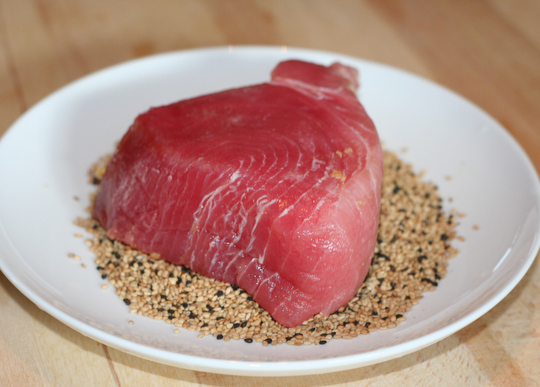Seared Tuna Over Sesame Seeds