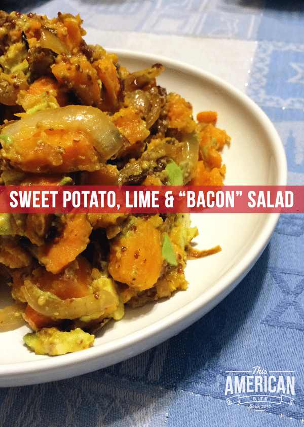 Kosher Bacon sweet potato lime salad.