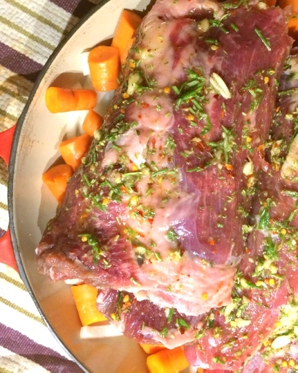 Top of rib roast recipe covered in herb oil for cooking