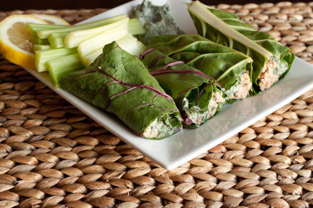 Tuna Chard Wraps with Fresh Dill Sauce - Healthful Pursuit