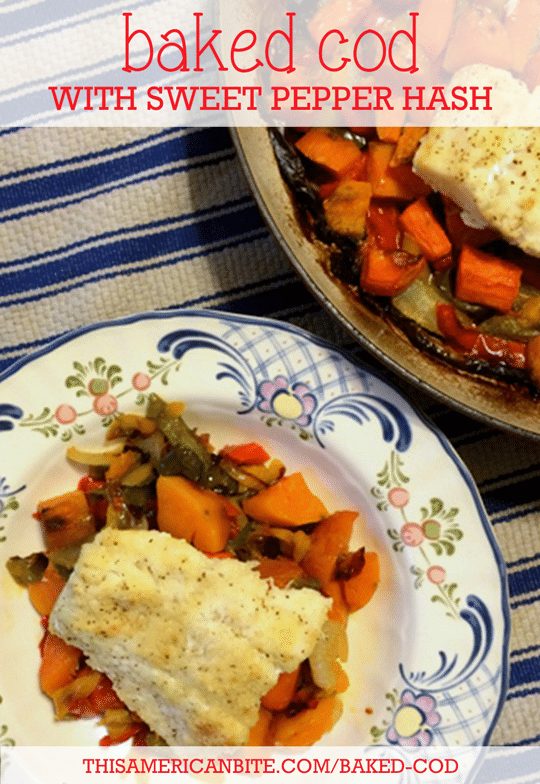 Baked cod with a Sweet Potato and Pepper Hash